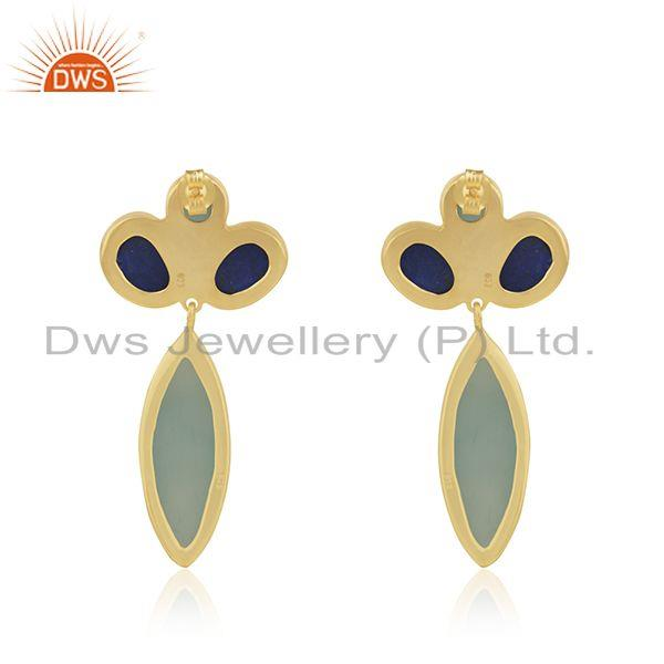 Suppliers Gold Plated 925 Silver Multi Gemstone Dangle Earrings Manufacturer India