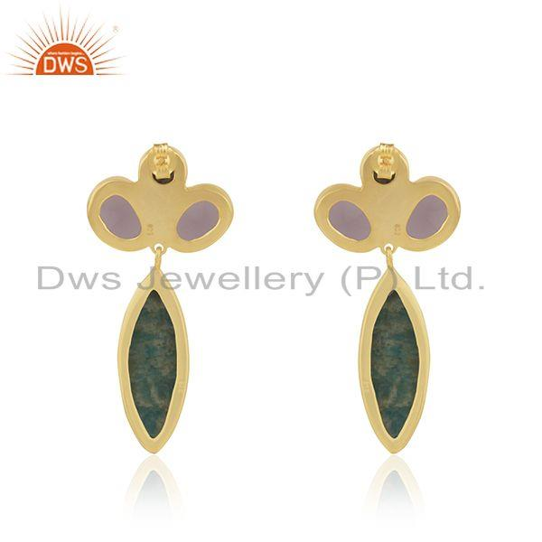 Suppliers Yellow Gold Plated 925 Silver Multi Gemstone Dangle Earrings Wholesaler Jaipur