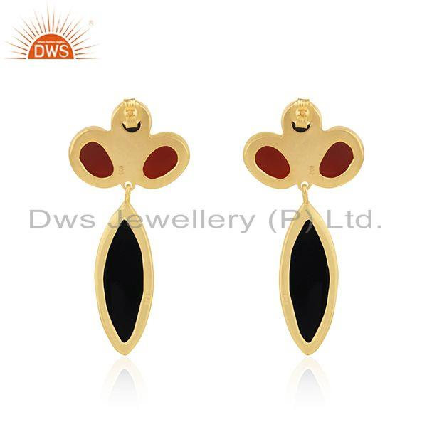 Suppliers Black and Red Onyx Gemstone Gold Platd 925 Silver Earrings Supplier from India