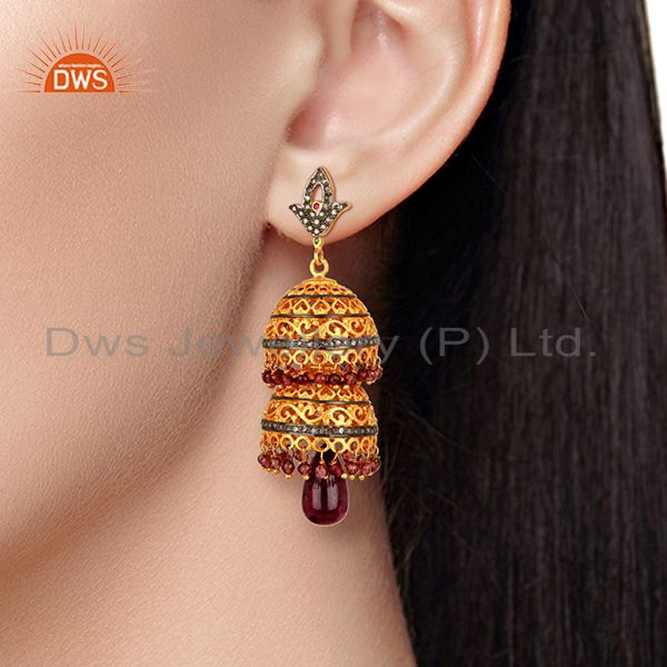Suppliers Ruby Gemstone Pave Diamond Gold Plated Silver Traditional Earrings