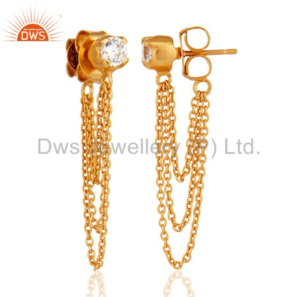 Suppliers 18K Yellow Gold Plated White Cubic Zirconia Fashion Dangle Earring