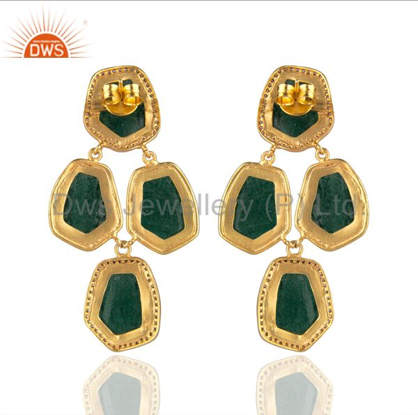 Suppliers Handmade Green Aventurine And CZ Designer Earrings In 22K Gold Over Brass