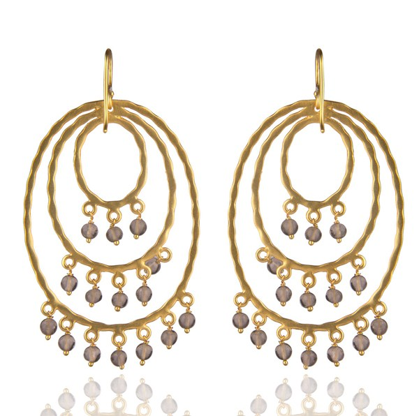 Suppliers 22K Yellow Gold Plated Brass Hammered Multi Circle Earrings With Smoky Quartz