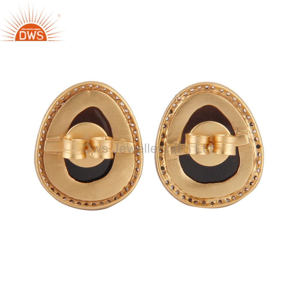 Suppliers 24K Yellow Gold Plated Smoky Quartz And CZ Designer Womens Stud Earrings
