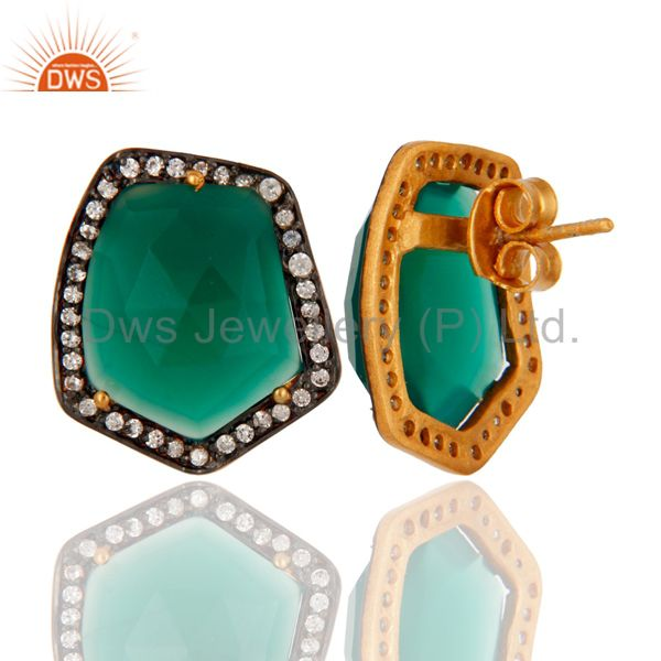 Suppliers 18K Yellow Gold Plated Brass Green Onyx And CZ Womens Stud Earrings