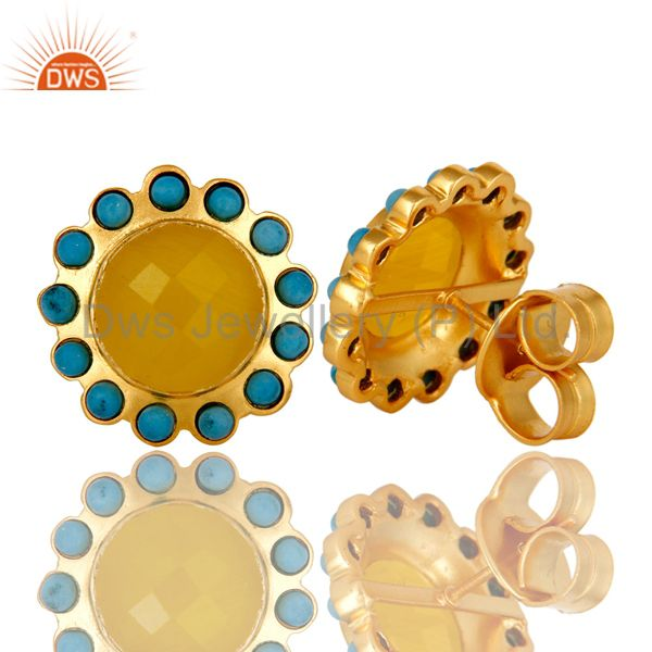Suppliers Handmade Turquoise And Yellow Chalcedony Stud Earrings Made In 18K Gold On Brass