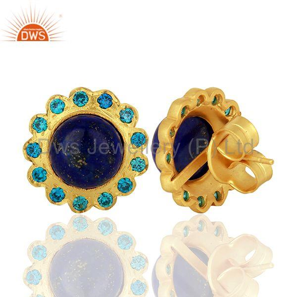 Suppliers Lapis Gemstone Gold Plated Stud Earrings Manufacturer Supplier