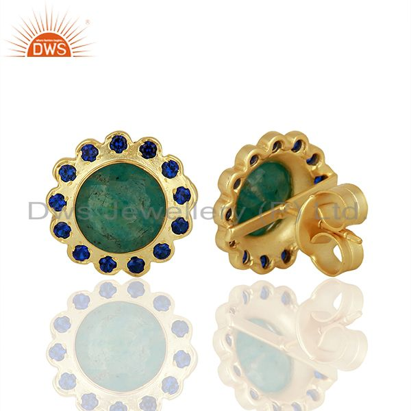 Suppliers CZ Amazonite Gemstone Brass Gold Plated Fashion Stud Earring Supplier