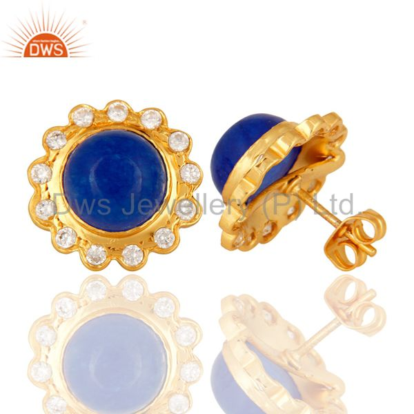 Suppliers 18K Yellow Gold Plated Aventurine Blue Gemstone Stud Fashion Earrings With CZ