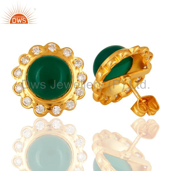 Suppliers Handmade Green Onyx Round Gemstone 18K Gold Plated Bezel Set Stud Earrings