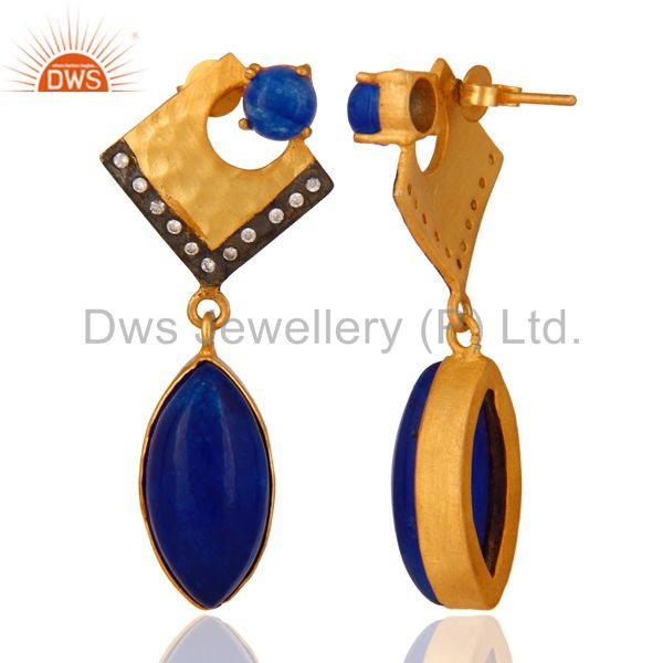 Suppliers 22K Yellow Gold Plated Brass Blue Aventurine Fashion Dangle Earrings With CZ