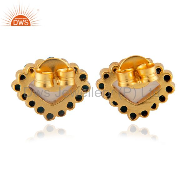 Suppliers 22K Yellow Gold Plated Brass Rose Chalcedony And Turquoise Stud Earrings