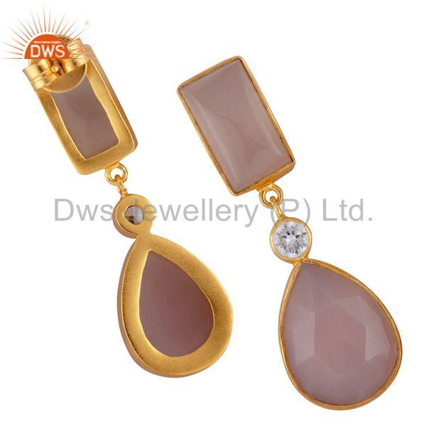 Suppliers 24K Yellow Gold Plated Brass Rose Chalcedony Bezel Set Drop Earrings With CZ