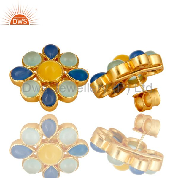 Suppliers 22K Yellow Gold Plated Blue Chalcedony And Moonstone Flower Stud Earrings