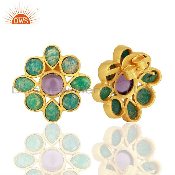Suppliers Amazonite Gemstone Gold Plated Brass Fashion Earrings Jewelry Supplier