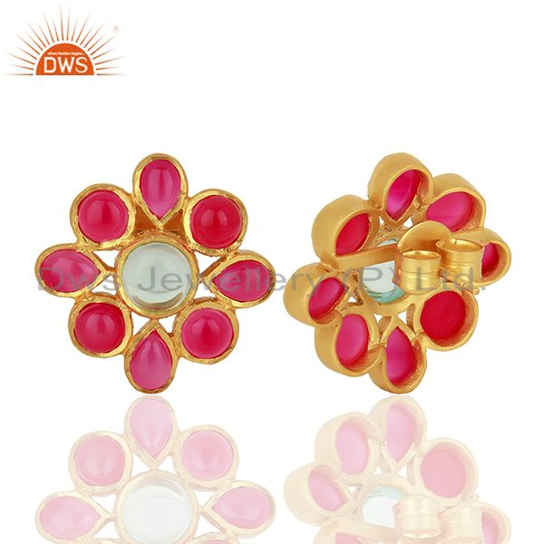 Suppliers Pink Chalcedony Gemstone Gold Plated Stud Earrings Designer Jewelry