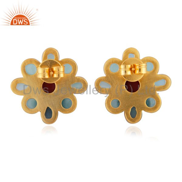 Suppliers 24K Yellow Gold Plated Brass Aqua Chalcedony And Coral Flower Stud Earrings