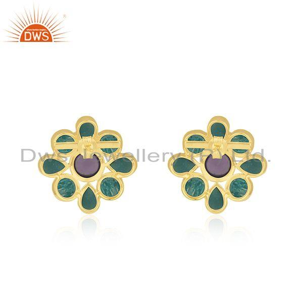 Suppliers Amazonite Gemstone 925 Silver Yellow Gold PLated Stud Earrings Manufacturer