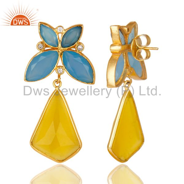 Suppliers 14K Gold Plated Dyed Chalcedony Yellow Moonstone & CZ Dangle Brass Earrings