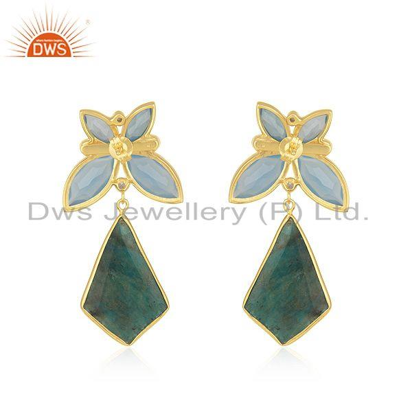 Suppliers Yellow Gold Plated 925 Silver Genuine Gemstone Girls Earrings Wholesaler India