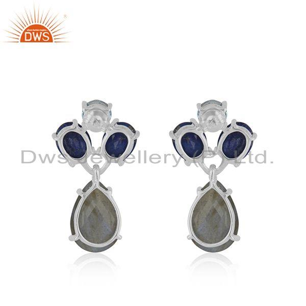 Suppliers Natural Labradorite Gemstone 925 Sterling Fine Silver Drop Earrings Wholesale