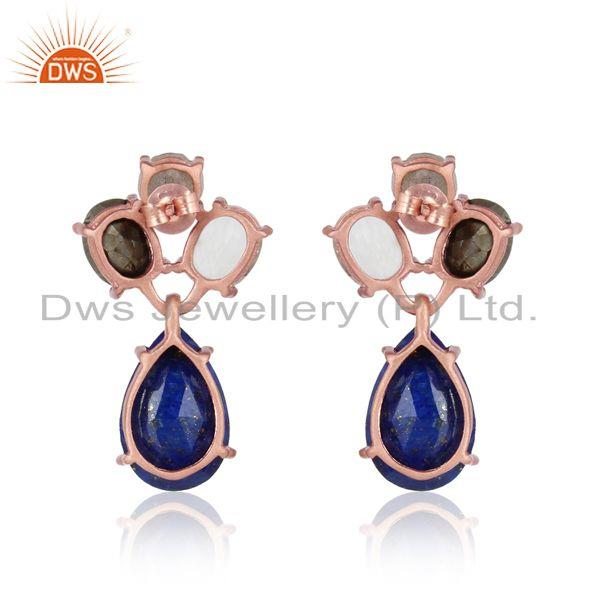 Designer of Designer stud in rose gold on silver and multi natural gemstones