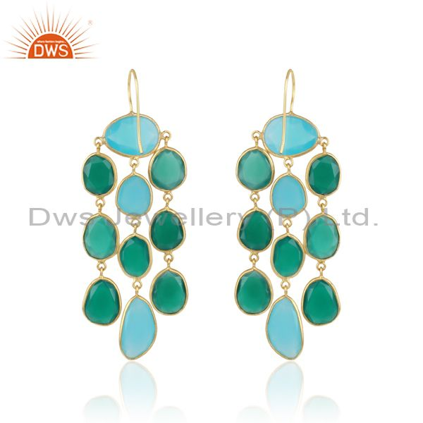 Designer of Long chandelier in gold on silver with aqua chalcedony green onyx