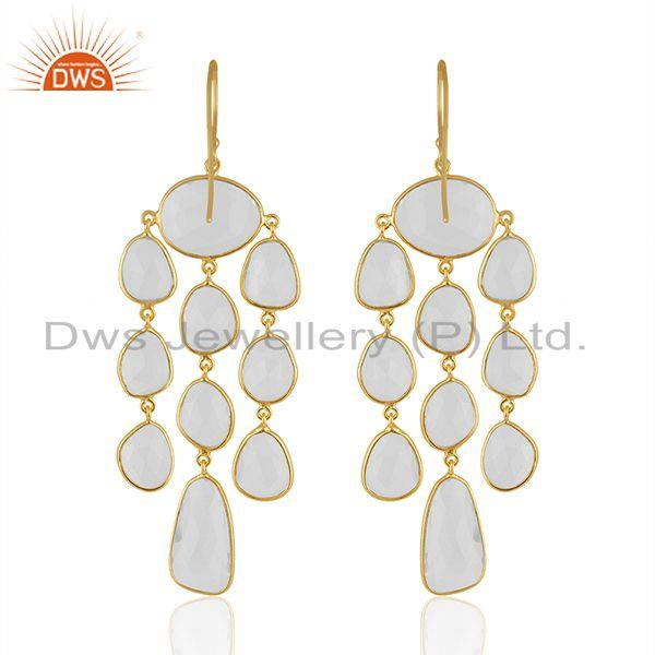Suppliers Crystal Quartz Gemstone Gold Plated 925 Silver Chandelier Earrings