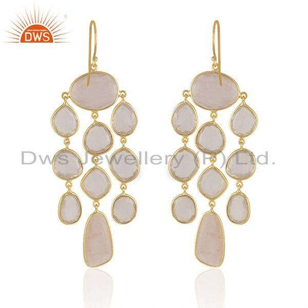 Suppliers Rose Quartz Stone Gold Plated Sterling Silver Earrings Manufacturers