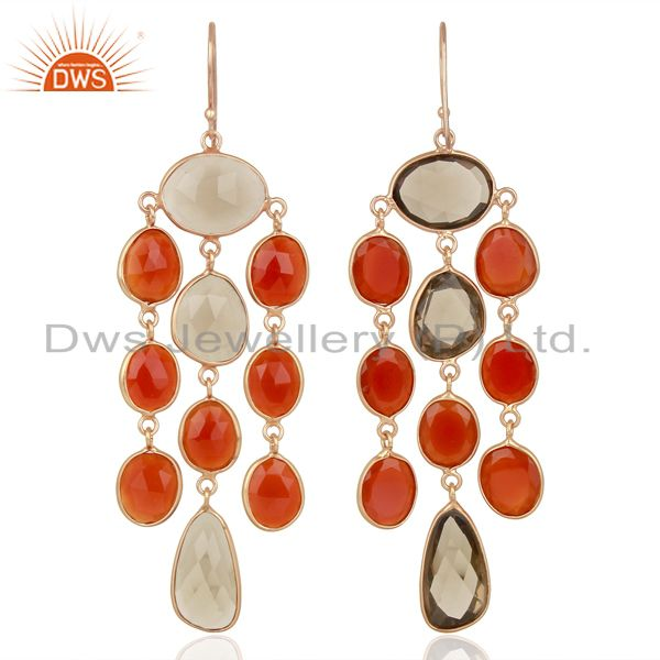 Suppliers 18K Rose Gold Plated Sterling Silver Carnelian Smoky Quartz Chandelier Earrings