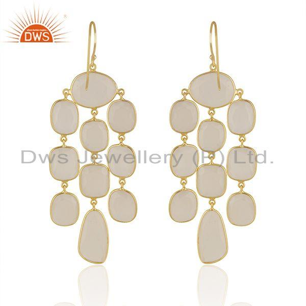 Suppliers White Chalcedony Gemstone Gold Plated 925 Silver Earrings Manufacturer