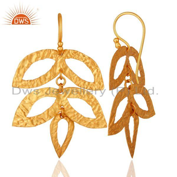 Suppliers 14K Yellow Gold Plated 925 Sterling Silver Handmade Leaf Design Earrings Jewelry