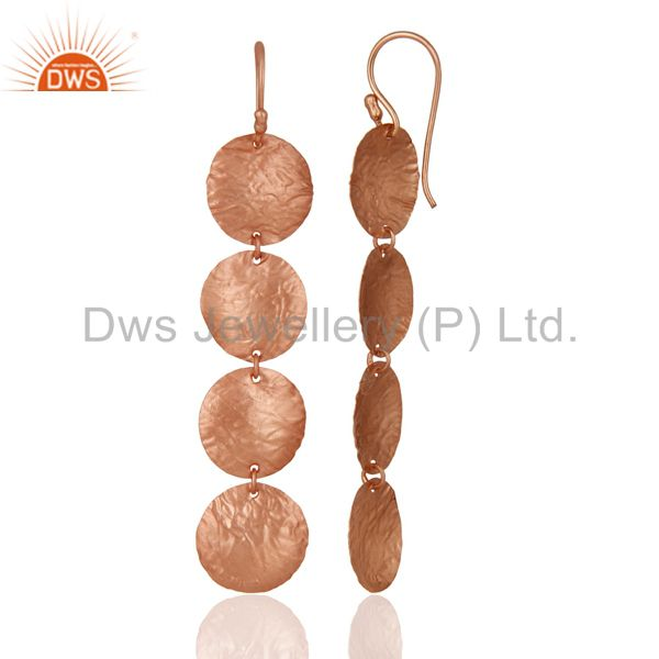Suppliers 18k Rose Gold Plated Sterling Silver  Textured Matte Disc Dangle Wire Earrings