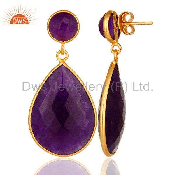 Designers 18K Gold Plated Faceted Purple Chalcedony Sterling Silver Bezel-Set Earrings