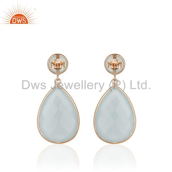 Suppliers Aqua Chalcedony Gemstone 925 Silver Rose Gold Plated Drop Earring Manufacturers