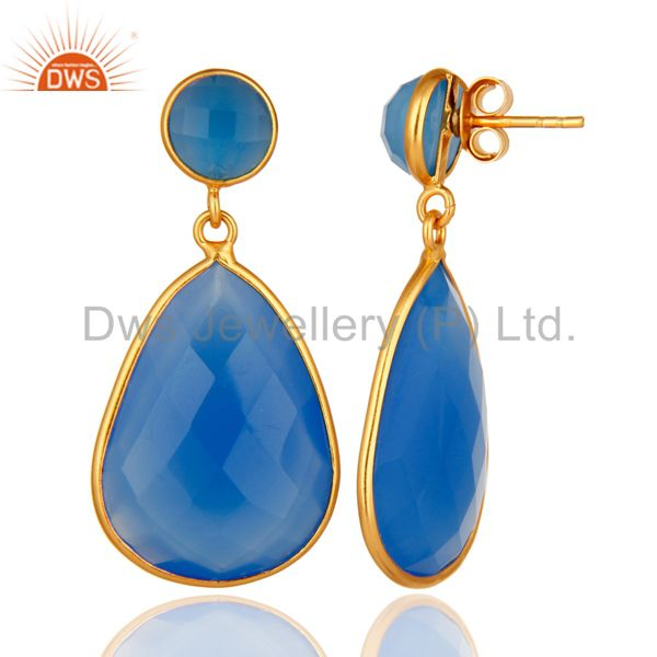 Designers Gold Plated Sterling Silver Faceted Blue Chalcedony Gemstone Bezel Set Earrings