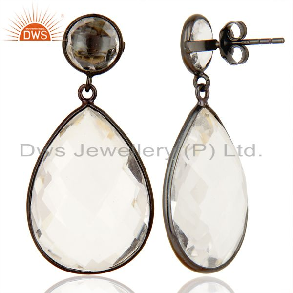 Suppliers Crystal Quartz Stud And drop Black Rhodium Plated 92.5 Sterling Silver Earring