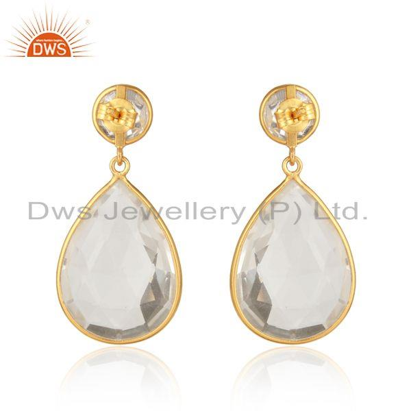 Designer of Handcrafted designer pear crystal quartz dangle in gold on silver