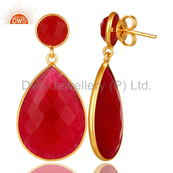 Designers 18K Yellow Gold Plated Sterling Silver Red Aventurine Bezel Set Teardrop Earring