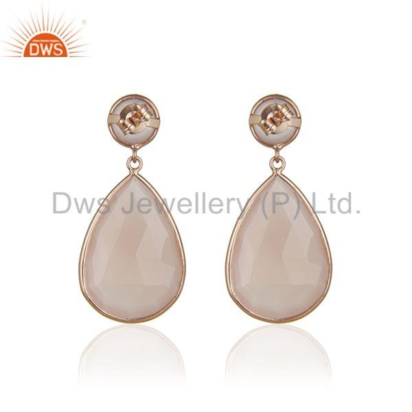 Suppliers Rose Chalcedony Gemstone Solid Silver Rose Gold Plated Dangle Earrings Wholesale