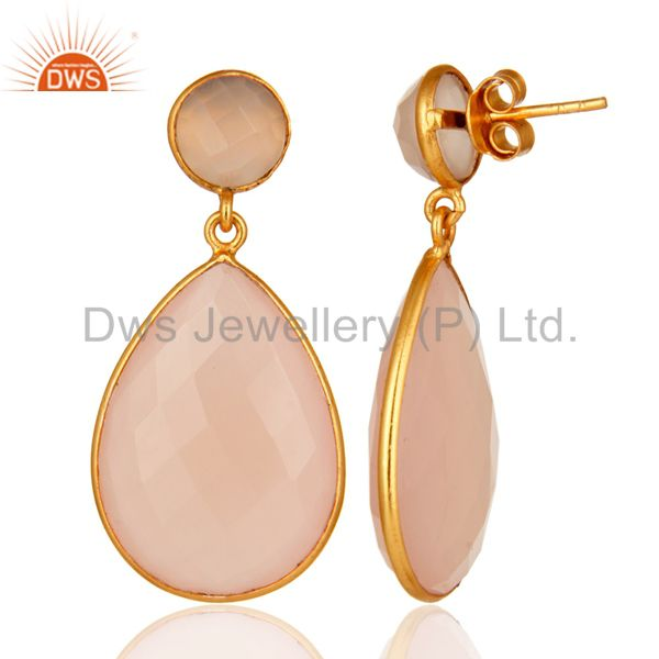 Designers Gold Plated Rose Chalcedony Gemstone Bezel-Set Drop Earrings