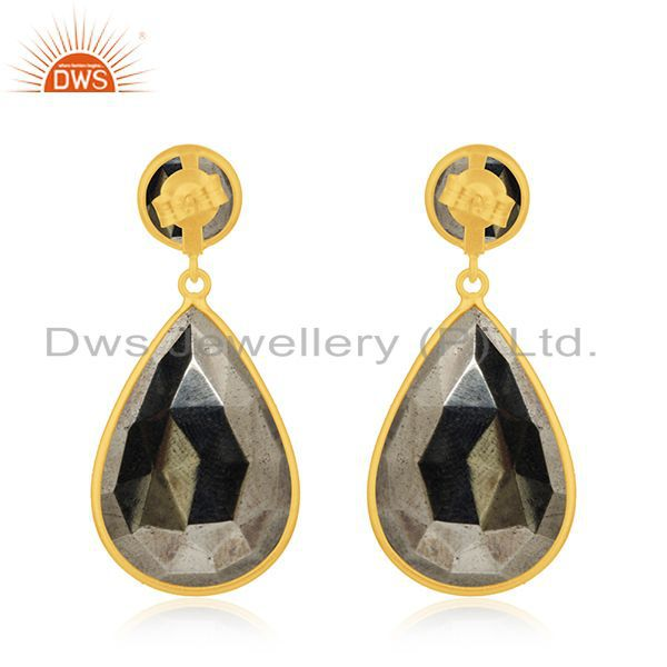Suppliers Pyrite Gemstone Gold Plated 925 Silver Dangle Earrings Manufacturer India