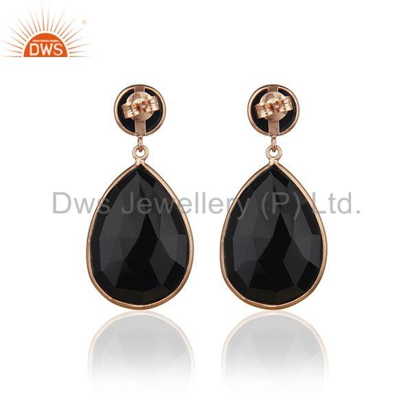 Suppliers Rose Gold Plated 925 Silver Black Onyx Gemstone Drop Earrings Manufacturer