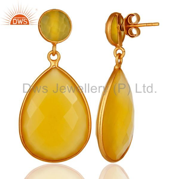 Designers Faceted Teardrop Yellow Moonstone Bezel-Set Drop Earrings In 18K Gold On Silver