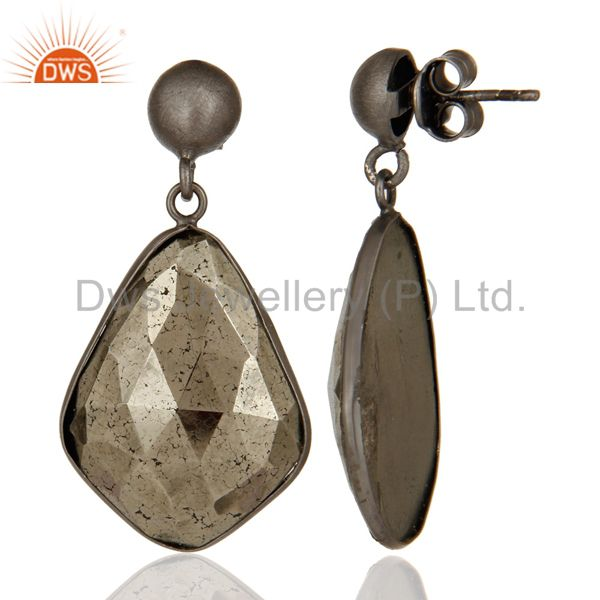 Suppliers Oxidized Solid Sterling Silver Faceted Pyrite Gemstone Bezel Set Drop Earrings