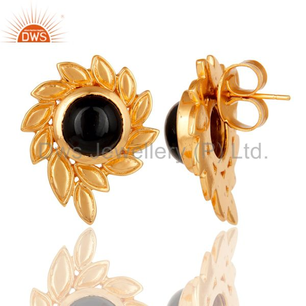 Suppliers Handmade Black Onyx Gemstone Stud Earrings With 22k Yellow Gold Plated Jewelry