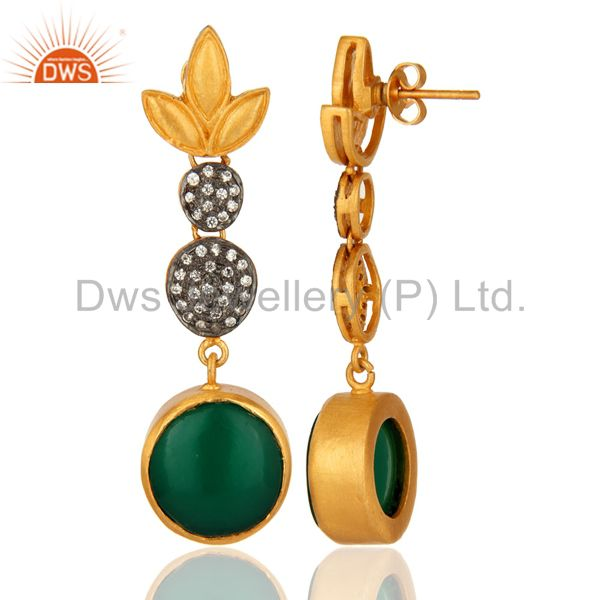 Suppliers Handmade Green Onyx Gemstone Earrings Made In 18K Gold Over Brass