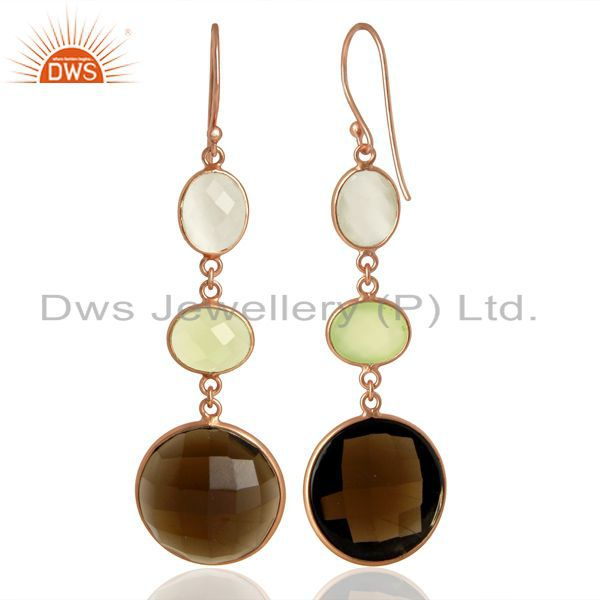 Suppliers Handmade Rose Gold Plated Gemstone Dangle Earrings Manufacturer