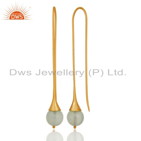 Suppliers 18K Gold Plated 925 Sterling Silver Dyed Chalcedony Gemstone Dangle Earrings
