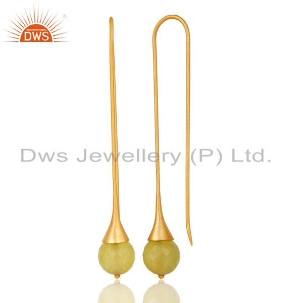 Suppliers 18K Gold Plated 925 Sterling Silver Handmade Yellow Chalcedony Dangle Earrings